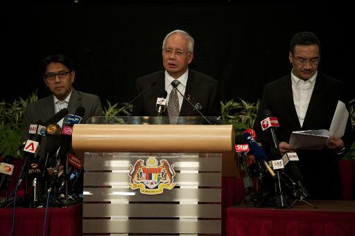 O premier da Malásia, Najib Razak, participa de uma entrevista coletiva em Kuala Lumpur. Foto: Mohd Rasfan/AFP Photo