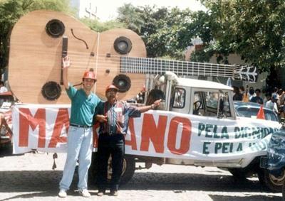 O candidato a prefeito Mariano com o vice Lúcio Mário, nas eleições de 1996, em Bom Jardim - PE (Foto Lúcio Mário)