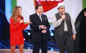 O trio, Patrícia Abravabel, Silvio Santos e Tiago Abravanel