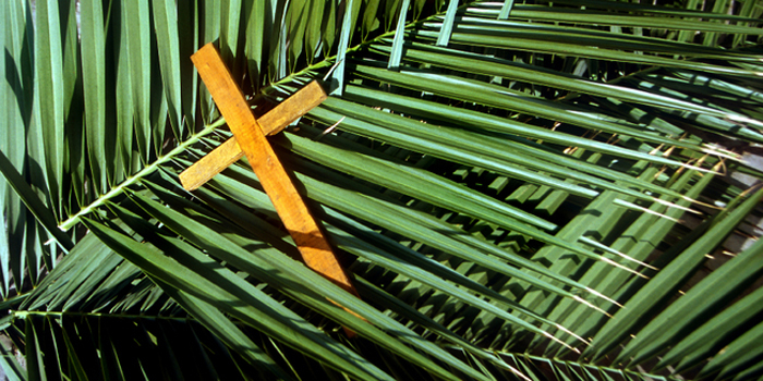 Wooden cross on palm leaves, Palm Sunday