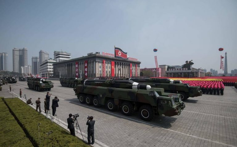 An unidentified missile and mobile launcher makes its way through Kim Il-Sung square during a military parade marking the 105th anniversary of the birth of late North Korean leader Kim Il-Sung in Pyongyang on April 15, 2017.   North Korean leader Kim Jong-Un on April 15 saluted as ranks of goose-stepping soldiers followed by tanks and other military hardware paraded in Pyongyang for a show of strength with tensions mounting over his nuclear ambitions. / AFP PHOTO / Ed JONES